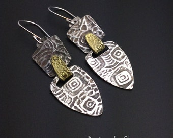 Tribal earrings, silver, gold, oxidized, lightweight, designsbysuzyn, shopsuzyn