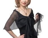 Promo Sale Evening  Wrap- Shawl - Scarf  Black Silk Chiffon