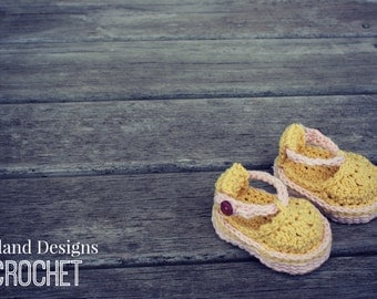Download Now - CROCHET PATTERN Platform Baby Sandals - Sizes 0-3, 3-6, 6-9, 9-12 mos - Pattern PDF