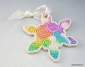 Rainbow Snowflake Christmas Ornament in Fimo Filigree
