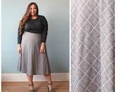 plus size dress / black and plaid long sleeve plus dress / 1980s / XL - XXL