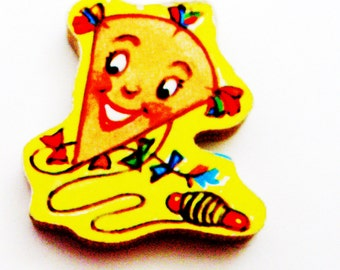 1960s Kite Brooch - Pin / Upcycled Hand Cut Wood Puzzle Piece / Yellow, Green, Red, Orange, Blue Wood Brooch Accessory / Fun Gift Under 25