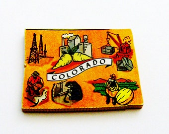 1960s Colorado Brooch - Pin / Unique Wearable History Gift Idea / Upcycled Vintage Hand Cut Wood Jewelry / Timeless Gift Under 25