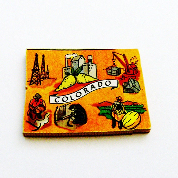 Colorado Brooch - Pin / Unique Wearable History Gift Idea / Upcycled Vintage 1960s Hand Cut Wood Puzzle Piece / Timeless Gift Under 25