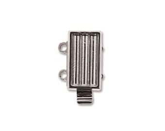 Box Clasp for Delica Beads 2 Strand 43472 (1), Rhodium Plated Elegant Elements Clasp, Multi-Strand Clasp, Silver Seed Bead Beadwork Clasp