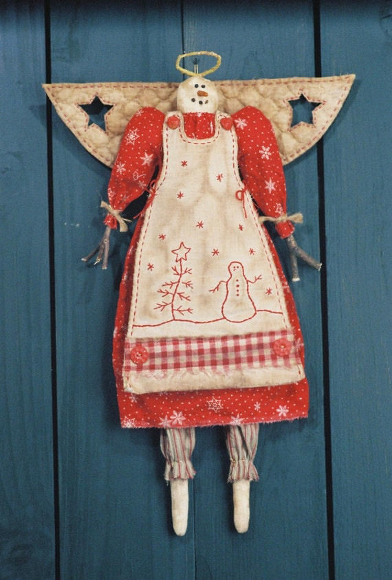 Mailed Cloth Doll Pattern  19in Country Holiday Angel