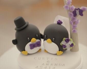 Penguins wedding cake topper,with flower tree ,Wedding Cake Topper (K416)