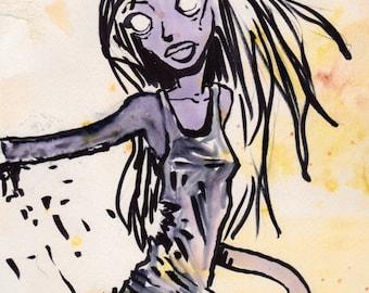 Zombie Girl on Yellow