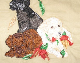 Dog Potholders, machine embroidered