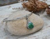 Reserved. Star Stamped Turquoise Bangle. Studded Sterling Silver Bangle Bracelet. Stacking Bracelet.