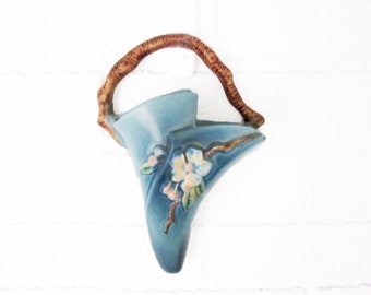 Vintage Roseville Pocket Vase - Roseville Pottery Blue Apple Blossom Pocket Wall Vase - Blue Wall Pocket 366-8