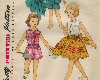 1950s Simplicity 4264 Vintage Sewing Pattern Girl's Full Skirt, Sleeveless Blouse, Shorts Size 6