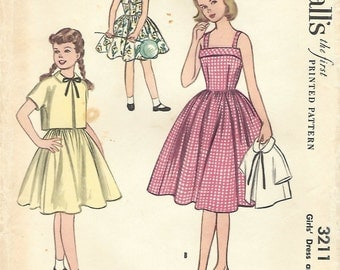 1950s McCall's 3211 Vintage Sewing Pattern Girls Sundress, Cropped Jacket Size 10