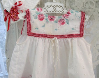 Summer Eyelet Baby Dress and Hat, Six to nine months, Two Piece, Upscaled, Painted, Eyelet, Red and White, by enfantjoli on etsy