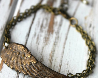 FREE shipping. Antiqued Brass Wing Bracelet  Angel. Bird Wing Feather
