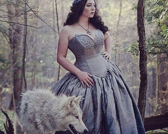 Silver Ombre Fairy Gown -Wedding Dress - Steampunk Fairytale - Gothic Renaissance Masquerade Silk and Lace -Custom to your size