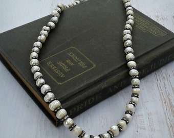 Vintage Handmade Freshwater Pearl and Rhinestone Necklace