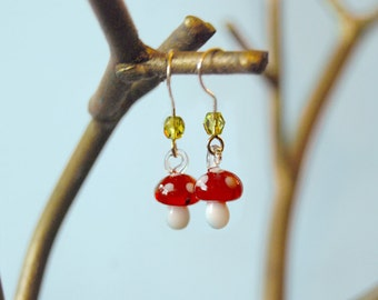 Cute Glass Red Mushroom Earrings | Forest Mushroom Charm | Whimsical Mushroom Earrings