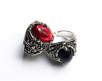 Silver Gothic Ring - Victorian Ring - Gothic Jewelry - Vampire Ring - Halloween Ring - Onyx Ring - Ruby Ring - Game of Thrones Ring - Dragon