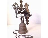 vintage door bell - cast metal Victorian gate bell - garden decor