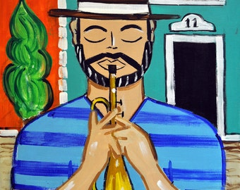 Trompetero/Trumpet Player- Original Latin Pop Painting, 18x24""