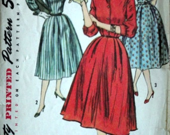 Misses' One-Piece Shirtwaist Dress, Simplicity 1749 Vintage 50's Sewing Pattern, Size 12. 32 Bust