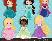 Princess Clipart - Princess Costumes with cute characters, royal graphics, illustration, birthday invitation, party graphics, embroidery