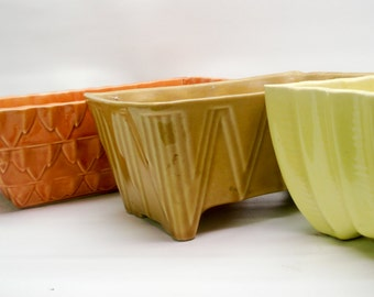 Lovely ceramic planter set - citrus tones
