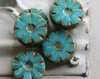 PEARLIZED TURQUOISE BLOOMS .. 6 Picasso Glass Czech Chunky Beads 13x5mm (4807-6)