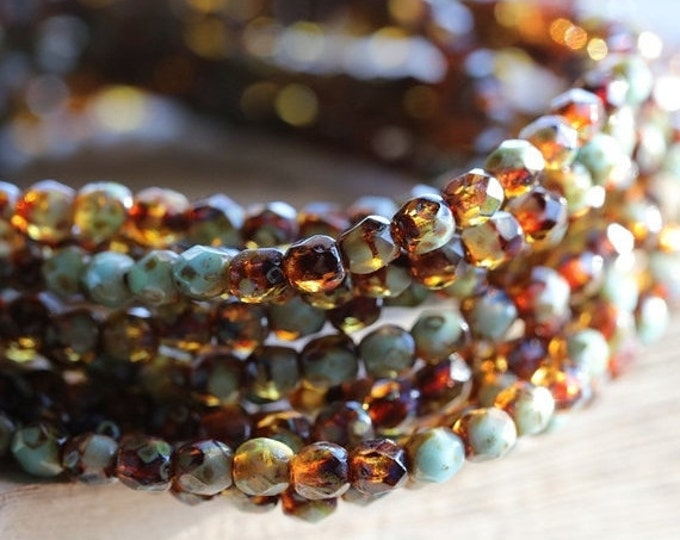 TORTOISE PEBBLES 4mm .. 50 Picasso Czech Glass Beads (4842-st)
