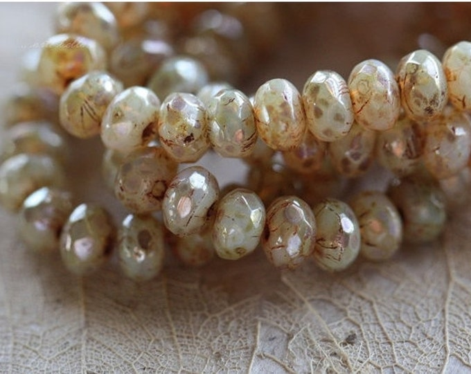 CASHMERE GLOW No. 2 .. 30 Premium Picasso Czech Rondelle Glass Beads 3x5mm (4487-st)