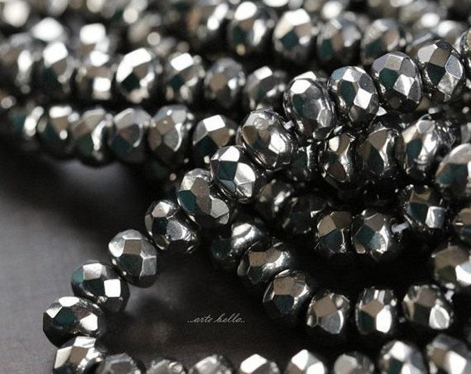 GRAPHITE .. 30 Fire Polished Czech Glass Beads 3x5mm (832-st)