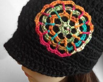 Brimmed Beanie Mandala Beanie Hat Womens Hat Wool Hat Mandala Winter Hat Wool Beanie Flower Beanie - MADE TO ORDER