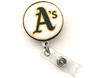 Retractable ID Badge Reel, Oakland Athletic, Nurse Badge Reel, Hospital ID Badge, Office Accessory, Sports Badge Reel, Baseball