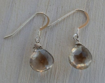 Wire-wrapped Faceted Smoky Quartz Teardrop Earrings, Smokey Quartz Earrings, Dangle Earrings, Drop Earrings, Brown Stone, Faceted Gemstone