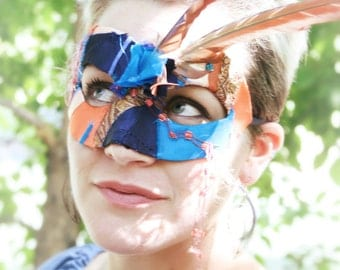 50% OFF! - Urban Amazon - OOAK Gypsy Mask in Turquoise and Orange with Cruelty Free Macaw Feathers
