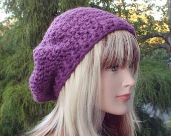 Purple Slouchy Beret, Womens Crochet Hat, Oversized Slouchy Tam, Chunky Hat, Slouchy Hat, Winter Hat, Slouch Hat
