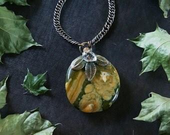 Jasper Necklace - Rainforest Jasper Necklace - Green Rhyolite with Herkimer Quartz - Rainforest Jasper Earth Faerie Necklace - Taleena