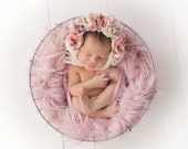 Flower Bonnet,  Floral Bonnet, Garden Bonnet, Baby hat, Baby Photo Prop, Newborn Photo Prop, Knit Baby Bonnet, Baby Girl Hat, Baby Hat