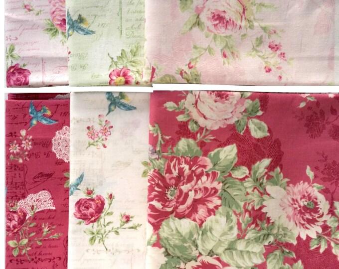 Quilt Gate Rose Bouquet - Rose Music Note Text Bird fabrics 6 fat quarters