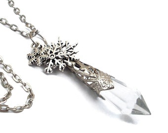 Winter Solstice Ice Fairy Crystal and Silver Filigree Pendant