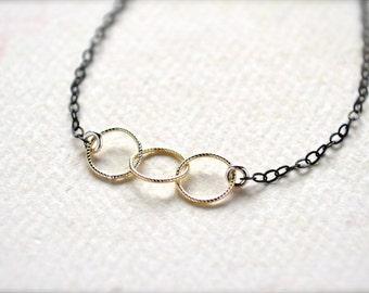 Trio Bracelet - three circle bracelet, triple circle bracelet, bridesmaid jewelry, trinity, B03/B04/B10