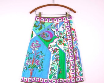 1960s Emilio Pucci Cotton Print Wrap Skirt S