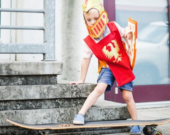 Gold Knight Costume -Phoenix Fire - Orange and Red Knight Helmet - Shield and Tunic Set - Renaissance Costume for Boy - Fairy Tale Story
