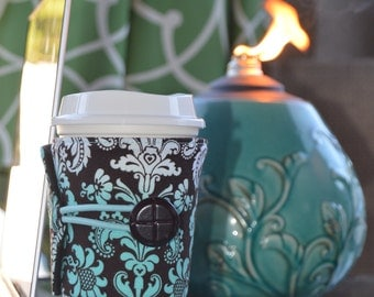 Damask Cup Cozy for Tapered Disposable Cups - Adjustable/Handcrafted/Eco Friendly ~ READY TO SHIP