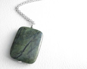 Green Jade Pendant Necklace; Natural Stone Jewelry, Canadian Rock