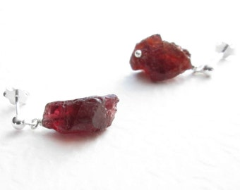 Raw Garnet Earrings, Red Cranberry Jewelry, Dangle Post Earrings, Uncut
