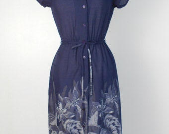 Vintage 70s Navy Blue Floral Dress Short Flutter/Cap Sleeves Day or Party Midi Size 9 - Free shipping.