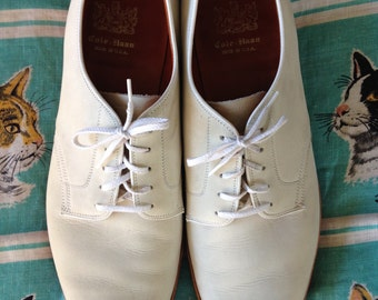 Vintage 1950's 60's Cole-Haan Nubuck white bucks Oxfords 11 C/A Made in the USA