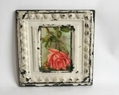 """AUTHENTIC Repurposed Tin Ceiling 5"""" x 7"""" Shabby Chic Ivory Picture Frame Reclaimed Photo 205-16"""